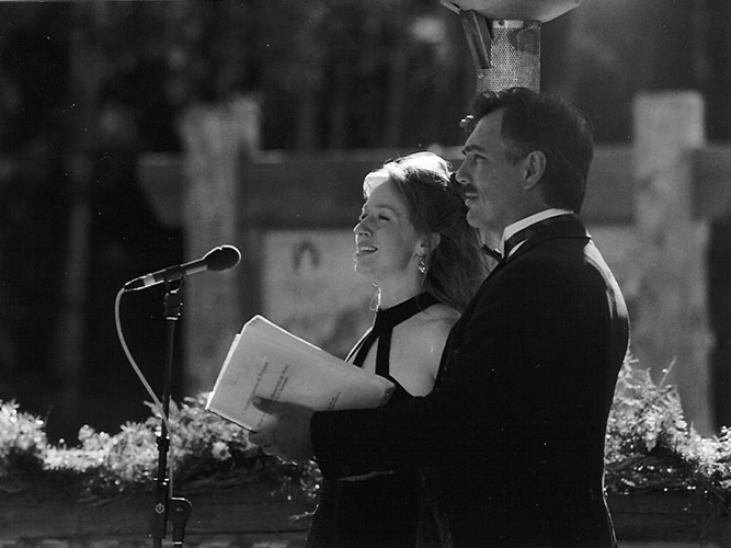 Lynnette Owens and James Miller sing at a wedding in Deer Valley