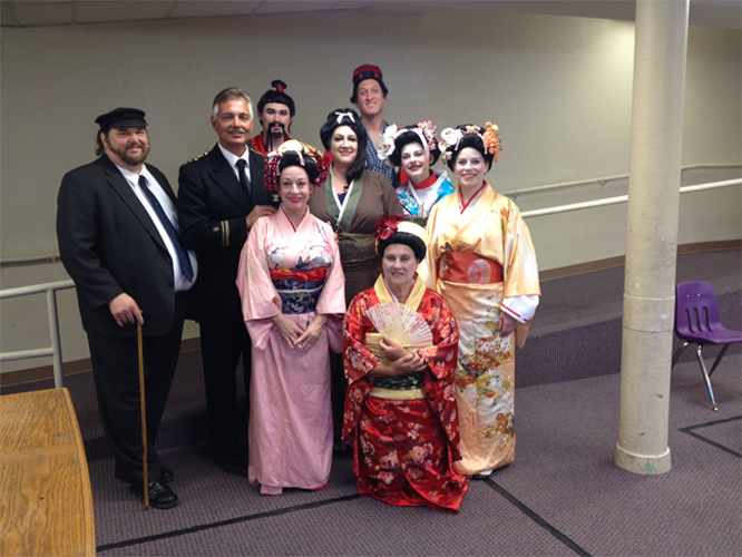 """Madama Butterfly"" cast members Lynnette Owens as Madama Butterfly, James Miller as Pinkerton, Susan Haderlie as Suzuki, Ray Arbizu as Sharpless, Brian Manternach as Goro, Joshua Jensen as Imperial Commissario and Yamadori and Deborah Siddoway, Julia Wentz and River Lundskog as Geishas"
