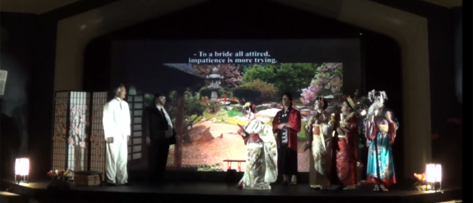"Lyrical Opera Theater's ""Madama Butterfly"" Act 1, with cast members Lynnette Owens as Madama Butterfly, James Miller as Pinkerton, Ray Arbizu as Sharpless, Brian Manternach as Goro and Deborah Siddoway, Julia Wentz and River Lundskog as Geishas"