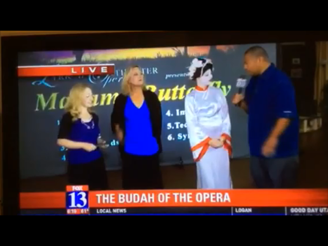 "Lyrical Opera Theater's ""Madama Butterfly"" cast members, Lynnette Owens, Deborah Siddoway and River Lundskog get interviewed by Fox13's Big Budah"