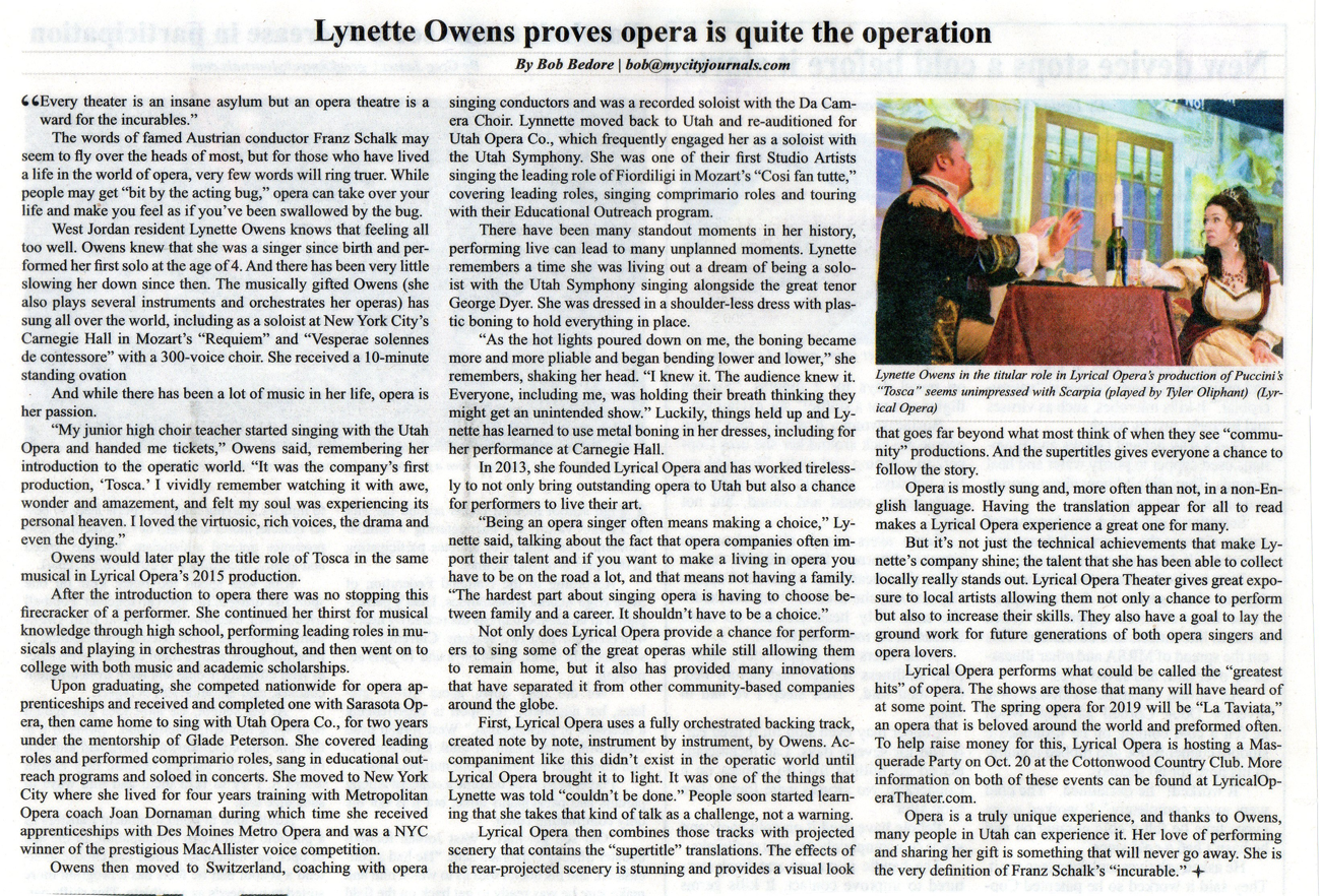 Lynnette Owens proves opera is quite the operation | City Journal article