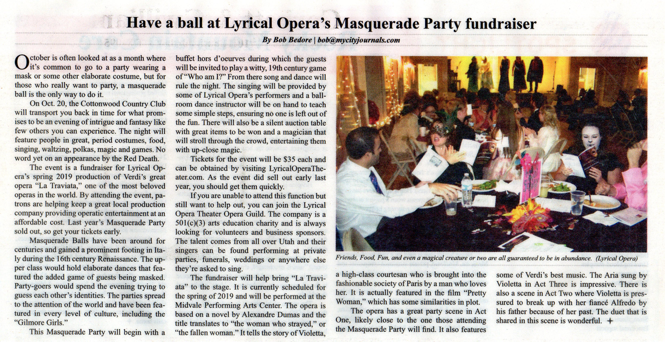 Masquerade Party 2018 | City Journal article
