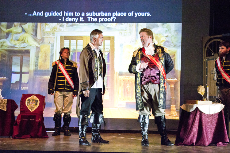 "Lyrical Opera Theater's ""Tosca"" Act 2, Tyler Oliphant as Scarpia, James Miller as Cavaradossi, Joshua Jensen as Sciarrone and Anthony Buck as Spoletta ""E guidato..."""