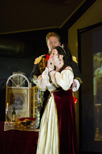 "Lyrical Opera Theater's ""Tosca"" Act 2, Lynnette Owens as Tosca and Tyler Oliphant as Scarpia ""Non resta..."""